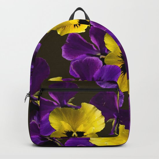 Purple And Yellow Flowers On A Dark Background #decor #buyart #society6 Backpack