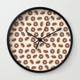 Chocolate Donuts on Cream Wall Clock