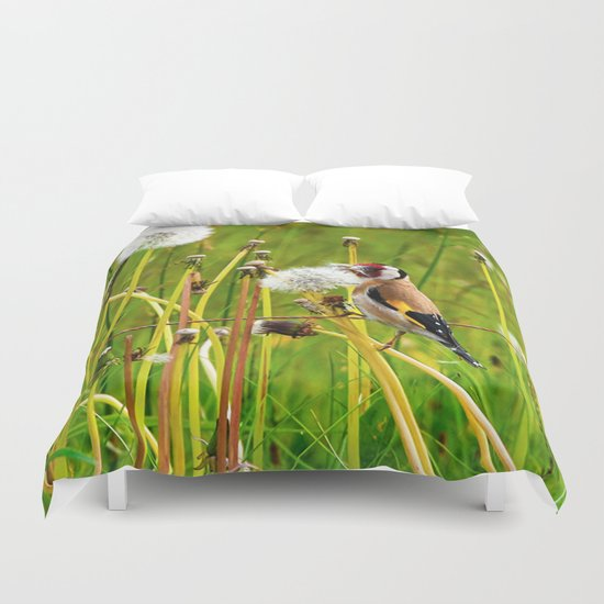 Europan goldfinch in late Spring Duvet Cover