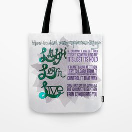 Laugh Learn Live Tote Bag