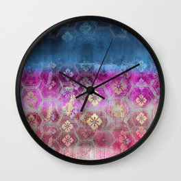 BLUE & PINK PATCHWORK PATTERN PRINT Wall Clock
