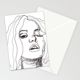 Sketch girl with butterfly | painter women | black art Stationery Cards