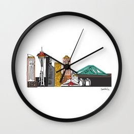 Seattle Skyline Illustration with Gold Highlights Wall Clock