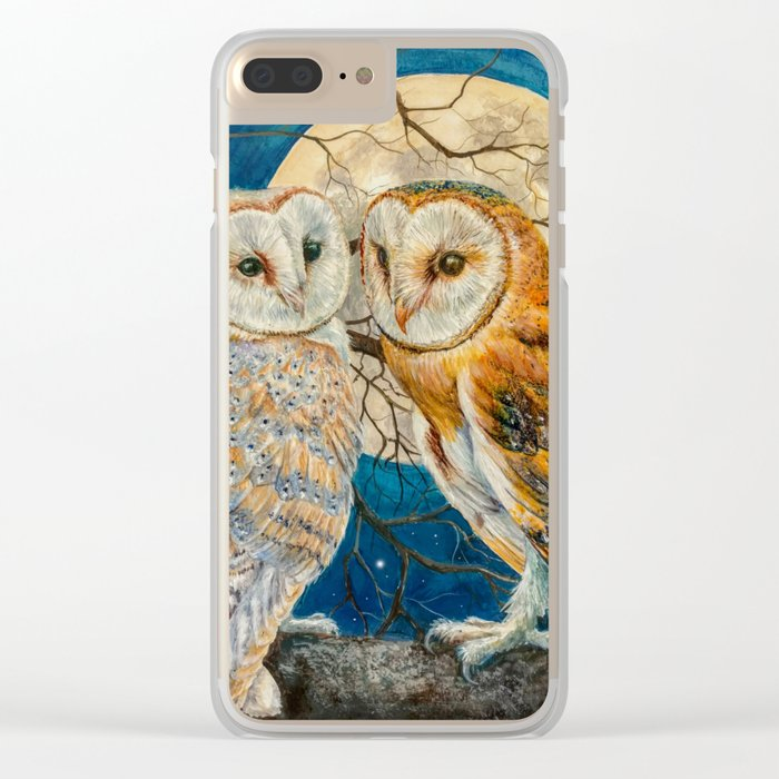 Owls Moon Stars Clear iPhone Case