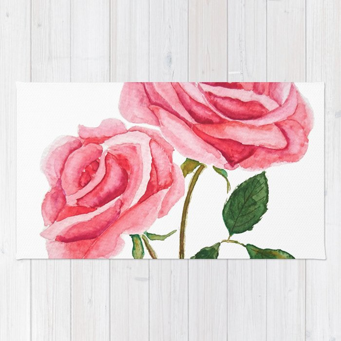 Two Pink Roses Watercolor Rug