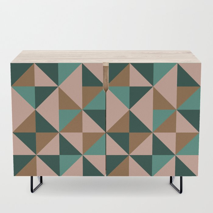 Retro Triangles in Blush Pink, Gold, and Teal Credenza