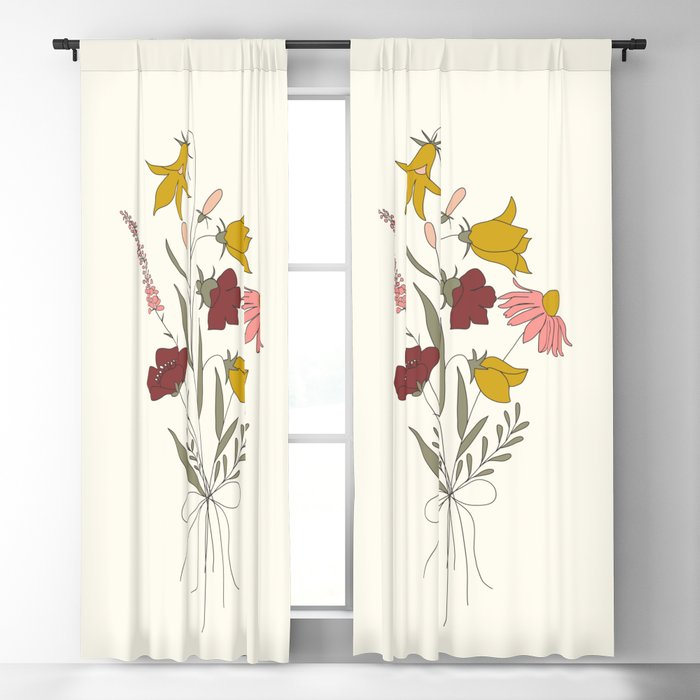 Wildflowers Bouquet Blackout Curtain