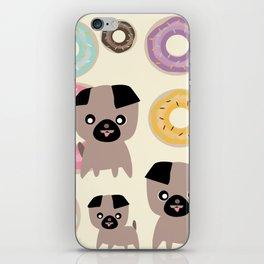 Pug and donuts beige iPhone Skin