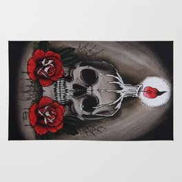 Voodoo Skull and Roses with candle Rug