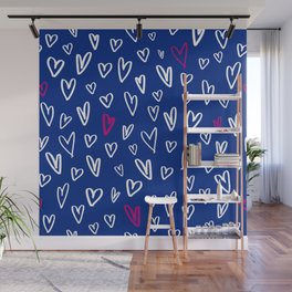 Hand drawn hearts on electric blue background Wall Mural