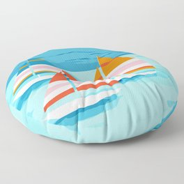 Popin - memphis sports retro throwback neon sailing sailboat cool rad gnarly trendy watersports Floor Pillow