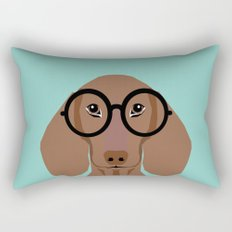 Remy - Daschund with Fashion glasses, hipster glasses, hipster dog, doxie,  Rectangular Pillow