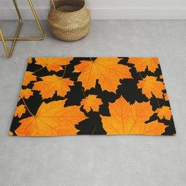 Orange Maple Leaves Black Background #decor #society6 #buyart Rug