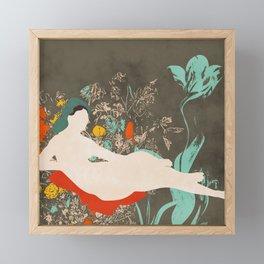 woman in garden Framed Mini Art Print