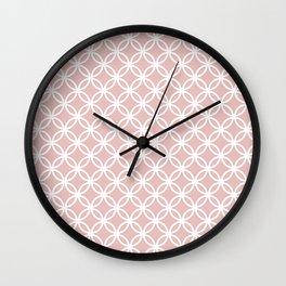 Beige and white interlocking circles Wall Clock