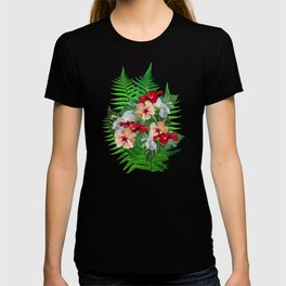 Hibiscus Flowers on Ferns T-shirt