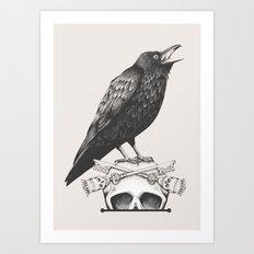 Black Crow & Skull / Neutral Art Print