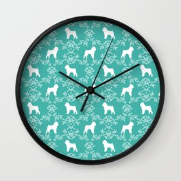 Brussels Griffon floral silhouettes dog breed turquoise gifts Wall Clock