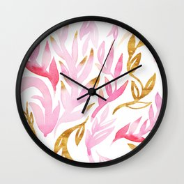 Pink and Gold Leafy Flourish Pattern Wall Clock