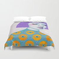purple Duvet Covers featuring The Observer by Natalie Foss