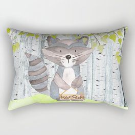 The adorable Racoon- Woodland Friends- Watercolor Illustration Rectangular Pillow