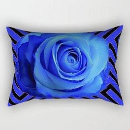 CONTEMPORARY BLUE ROSE  PATTERN ART GARDEN Rectangular Pillow