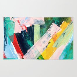 Livin' Easy - a bright abstract piece in blues, greens, yellow and red Rug