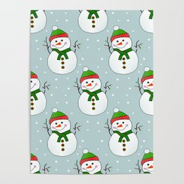 Christmas Snowman Pattern  -  Merry Christmas Poster