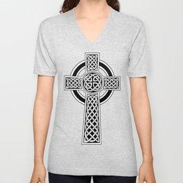 St Patrick's Day Celtic Cross Black and White Unisex V-Neck