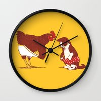 threadless Wall Clocks featuring Show me yours and I'll show you mine by Rodrigo Ferreira