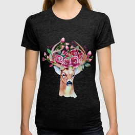 Shy watercolor floral deer T-shirt
