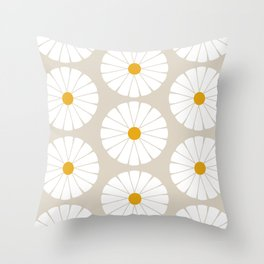 Minimal Botanical Pattern - Daisies Throw Pillow