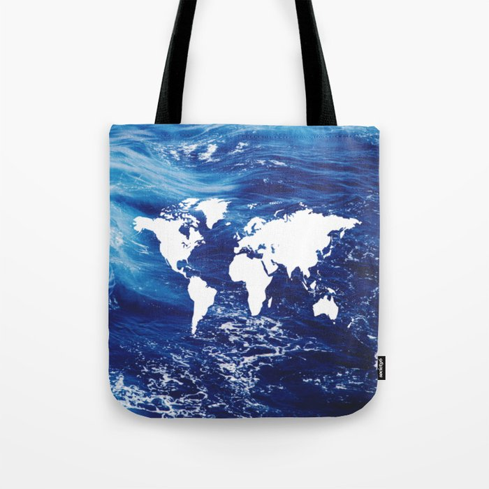 Map of Earth on Water Tote Bag