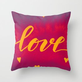 Valentine's Day Watercolor Love – magenta and yellow Throw Pillow