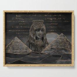 Cleopatra on Egyptian pyramids landscape Serving Tray