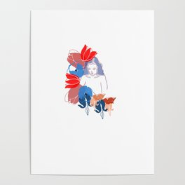 Woman In Flowers Poster