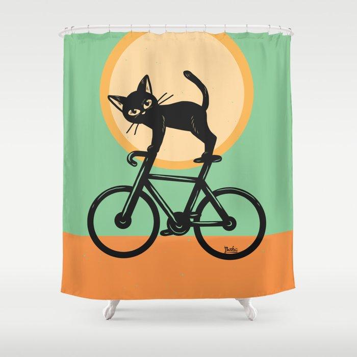 Cat Loves A Bike Shower Curtain
