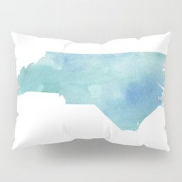 Watercolor State Map - North Carolina NC blue green Pillow Sham