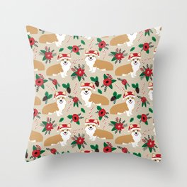 Welsh Corgi poinsettia christmas hat santa little corgi elf pet friendly dog breed gifts Throw Pillow