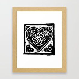 Heart Lino Print made with love Framed Art Print