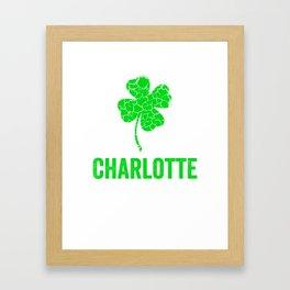 Charlotte Irish, St Patricks Day, Four Leaf Clover Framed Art Print