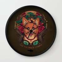 cowboy bebop Wall Clocks featuring See You Space Cowboy by Megan Lara
