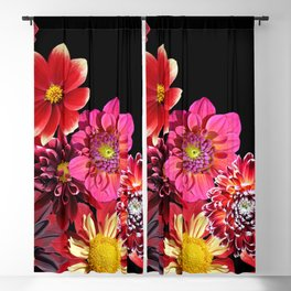 Bright colorful flowers on black Blackout Curtain