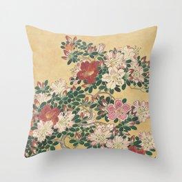 Vintage Flowers Azalea Japanese Painting Throw Pillow
