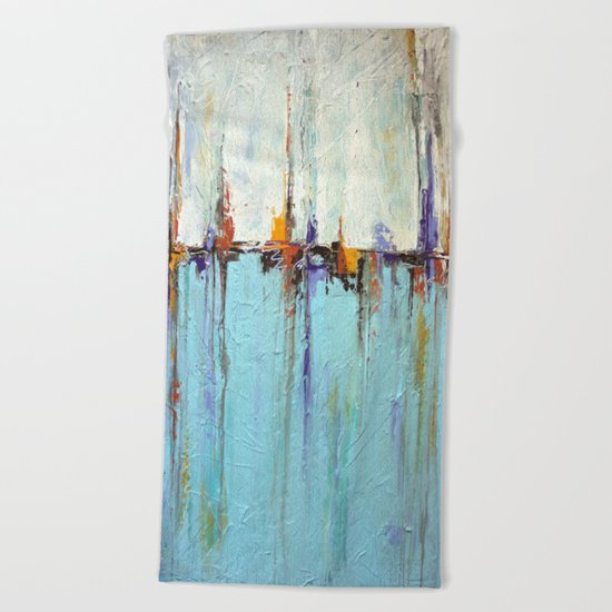 "Abstract White and Blue Painting – Textured Art – ""Sailing""  Beach Towel"