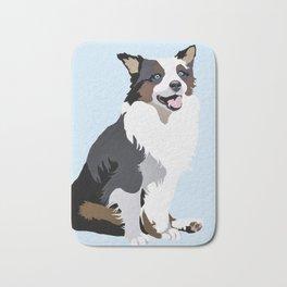 Woof on light blue Bath Mat