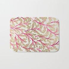 Pink & Gold Branches Bath Mat