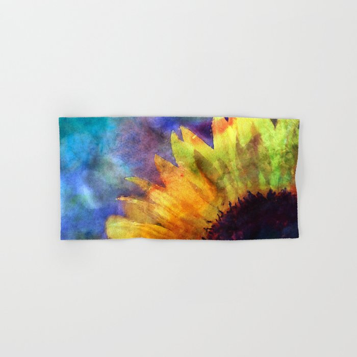 Sunflower Flower Floral on colorful watercolor texture Hand & Bath Towel