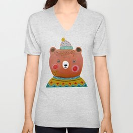 Hand Painted Watercolor Christmas Brown Bear Unisex V-Neck