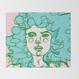 Turquoise Mermaid Curls Throw Blanket